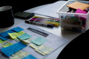 Post-it notes, tusher - en workshop er i gang