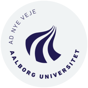 Aalborg Universitet logo i grå transparent cirkel