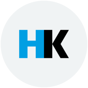 HK logo i grå transparent cirkel
