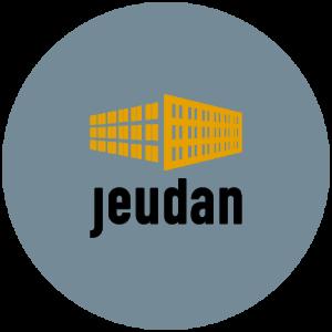 Jeudan logo i grå transparent cirkel